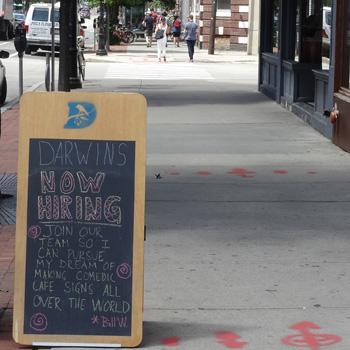 Darwin's sidewalk sign
